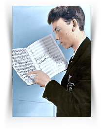 Philip with handwritten Concerto score